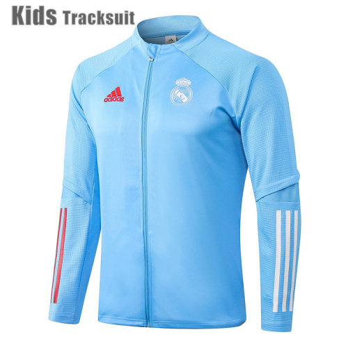 Kids Real Madrid 20/21 Jacket Tracksuit Light Blue E483#