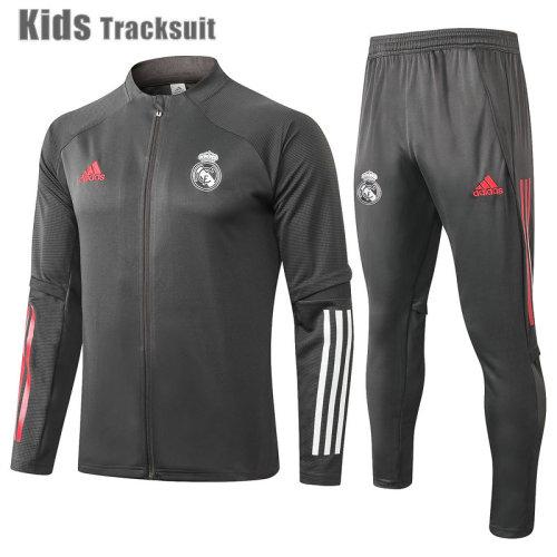 Kids Real Madrid 20/21 Jacket Tracksuit Dark Grey E479#