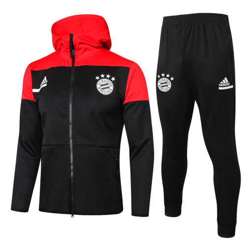 Bayern Munich 20/21 Full-Zip Hoodie Tracksuit Black and Red F277#