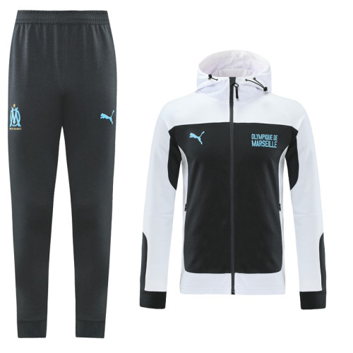 Olympique Marseille 21/22 Full-Zip Hoodie Tracksuit Black and White MT03