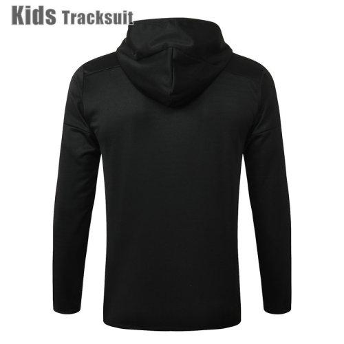 Kids Real Madrid 20/21 Hoodie Tracksuit Black E498#