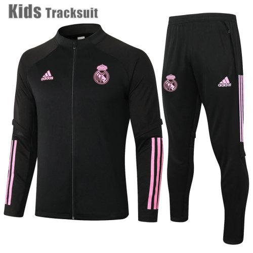 Kids Real Madrid 20/21 Jacket Tracksuit Black E510#