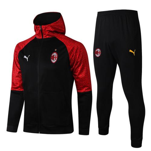 AC Milan 20/21 Full-Zip Hoodie Tracksuit Black F290#