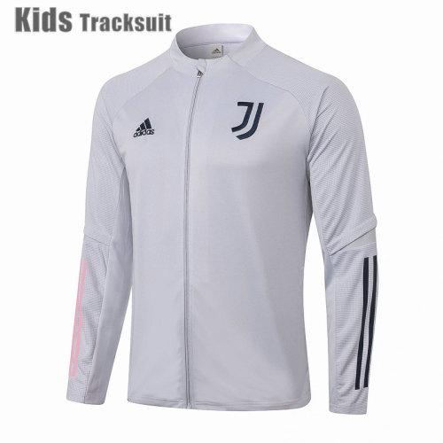 Kids Juventus 20/21 Jacket Tracksuit Light Grey E484#