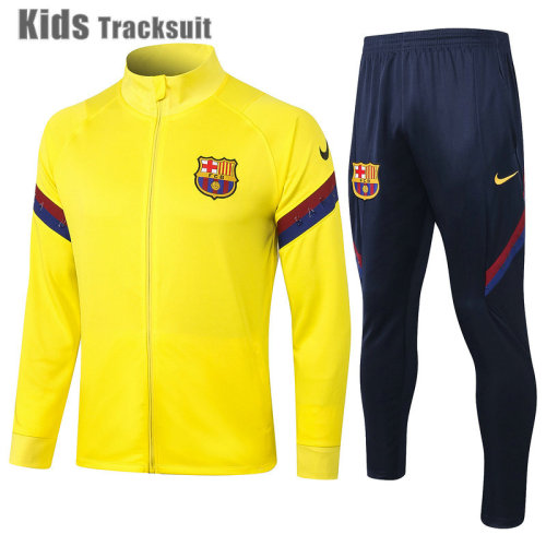 Kids Barcelona 20/21 Jacket Tracksuit Yellow E449#