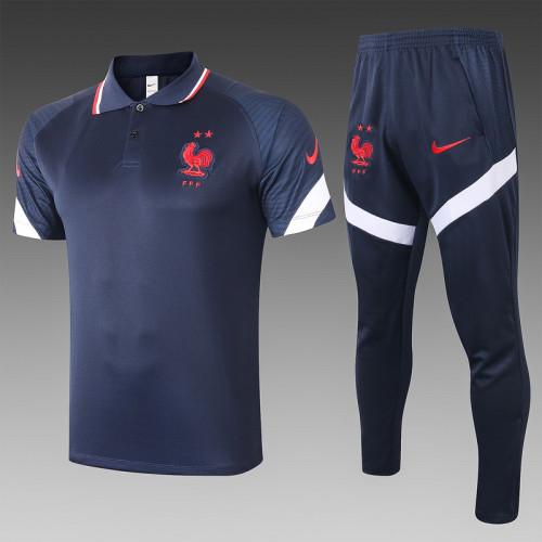 France 20/21 Pre-Match Polo Kit Navy C488#