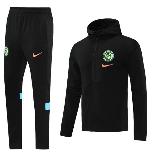Inter Milan 21/22 Full-Zip Hoodie Tracksuit Black MT02