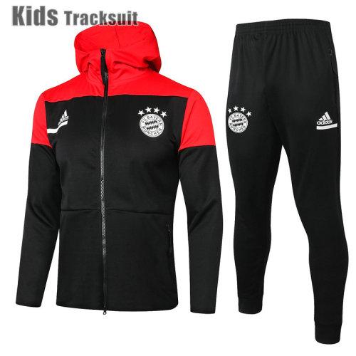 Kids Bayern Munich 20/21 Hoodie Tracksuit Black E499#