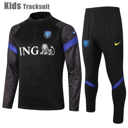 Kids Netherlands 2021 Drill Tracksuit Black E511#