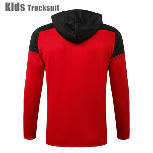 Kids Manchester United 20/21 Hoodie Tracksuit Red E501#