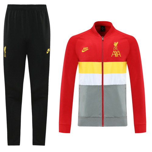 Liverpool 21/22 Jacket Tracksuit Red Yellow and Grey CX02