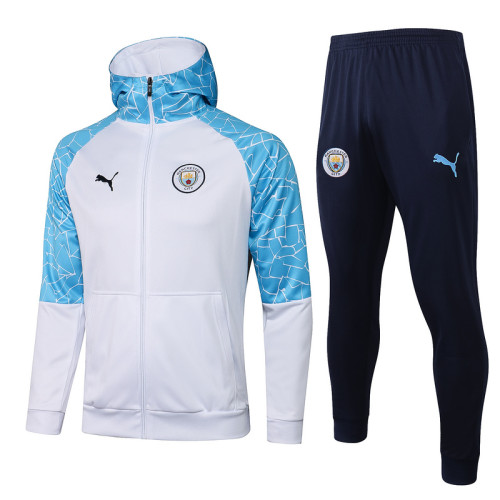 Manchester City 20/21 Full-Zip Hoodie Tracksuit White F296#