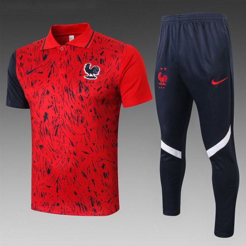 France 20/21 Pre-Match Polo Kit Red C543#