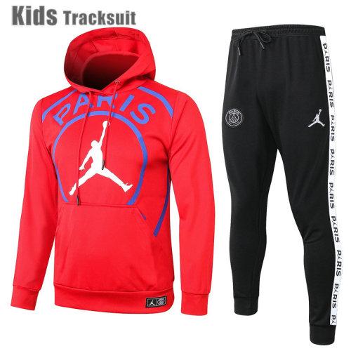 Kids Paris Saint-Germain 20/21 Hoodie Tracksuit Red E457#