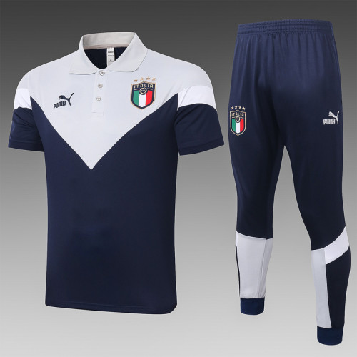 Italy 20/21 Pre-Match Polo Kit Navy and Grey C422#