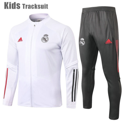 Kids Real Madrid 20/21 Jacket Tracksuit White E496#