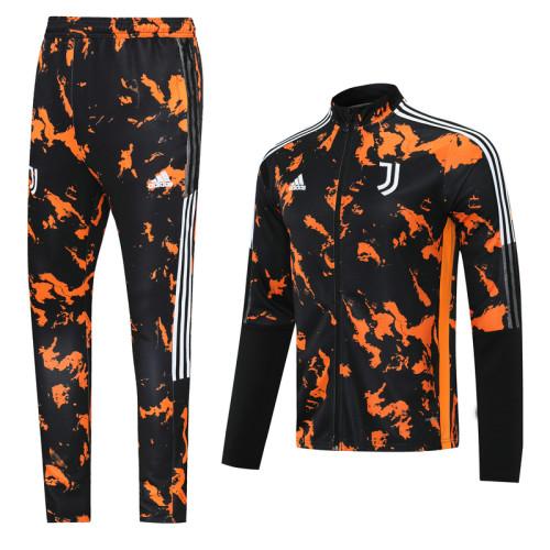 Juventus 21/22 Jacket Tracksuit Black and Orange CX09