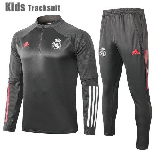 Kids Real Madrid 20/21 Drill Tracksuit Dark Grey E492#