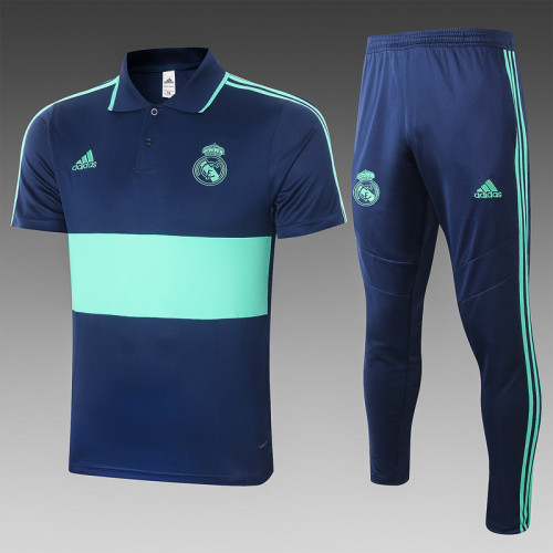 Real Madrid 20/21 Pre-Match Polo Kit Navy and Green C427#