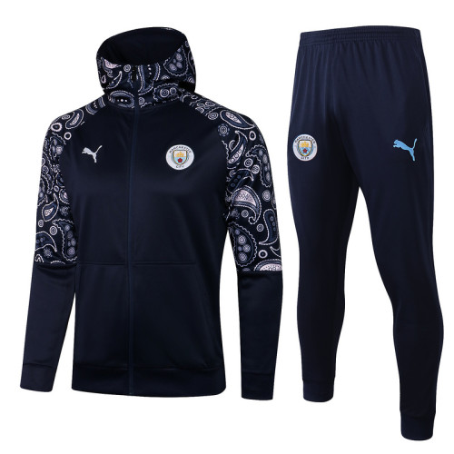 Manchester City 20/21 Full-Zip Hoodie Tracksuit Navy F295#