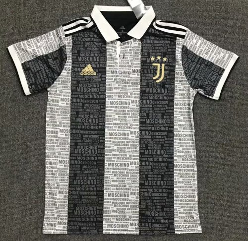 Juventus 21/22 Pre-Match Polo Shirt Black and White