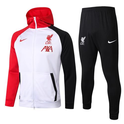 Liverpool 20/21 Full-Zip Hoodie Tracksuit White F286#