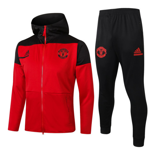 Manchester United 20/21 Full-Zip Hoodie Tracksuit Red F280#
