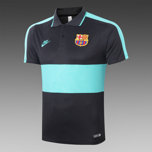 Barcelona 20/21 Pre-Match Polo Kit Black and Green C402#