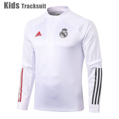 Kids Real Madrid 20/21 Drill Tracksuit White E493#