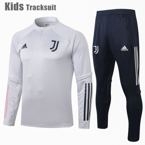 Kids Juventus 20/21 Drill Tracksuit Light Grey E478#