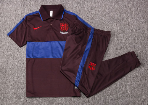 Barcelona 20/21 Pre-Match Polo Kit Dark Brown and Bright Blue C419#
