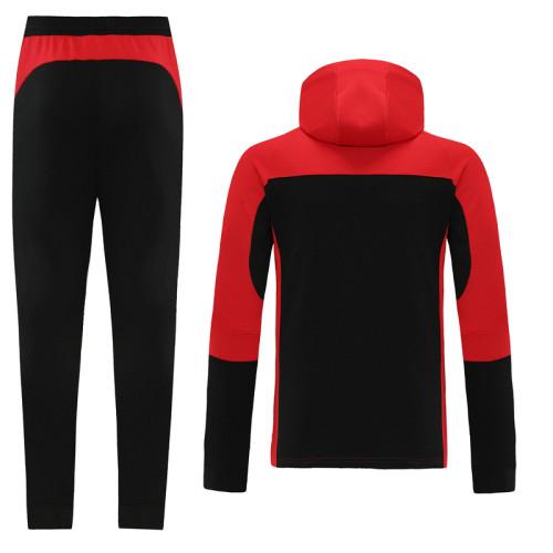 AC Milan 21/22 Full-Zip Hoodie Tracksuit Black and Red MT01