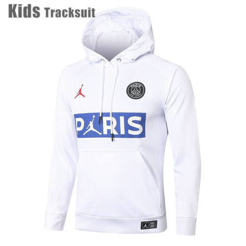 Kids Paris Saint-Germain 20/21 Hoodie Tracksuit White E452#