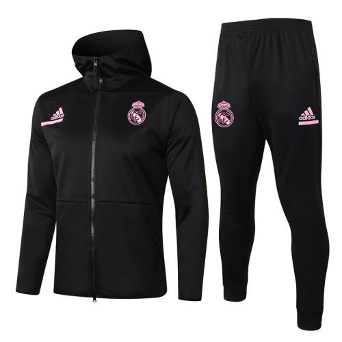 Real Madrid 20/21 Full-Zip Hoodie Tracksuit Black F276#