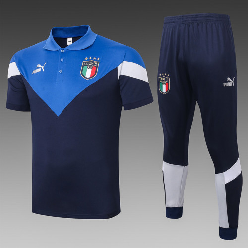 Italy 20/21 Pre-Match Polo Kit Navy and Bright Blue C420#