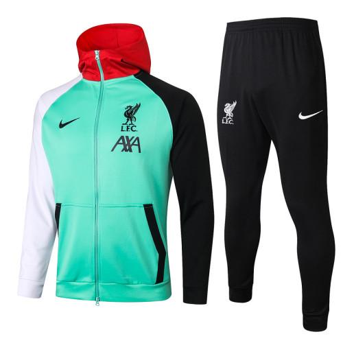 Liverpool 20/21 Full-Zip Hoodie Tracksuit Green F287#