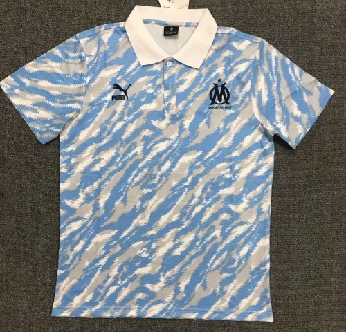 Olympique Marseille 21/22 Pre-Match Polo Shirt White and Blue