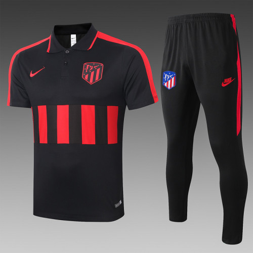 ATM 20/21 Pre-Match Polo Kit Black and Red C406#