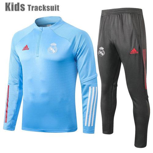 Kids Real Madrid 20/21 Drill Tracksuit Light Blue E494#