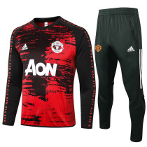 Manchester United 20/21 Drill Tracksuit Red and Black B438#