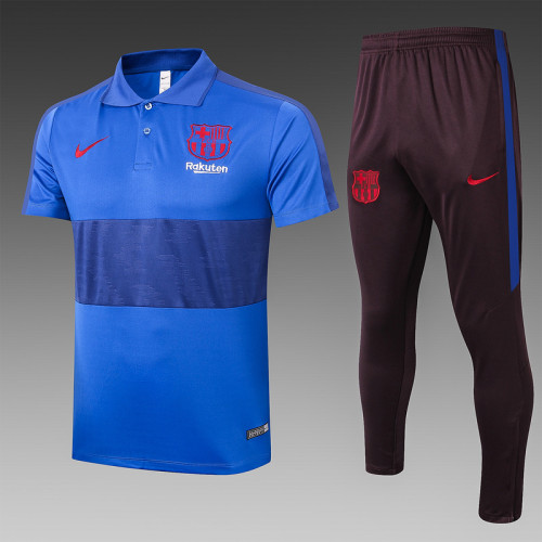 Barcelona 20/21 Pre-Match Polo Kit Bright Blue and Blue C432#