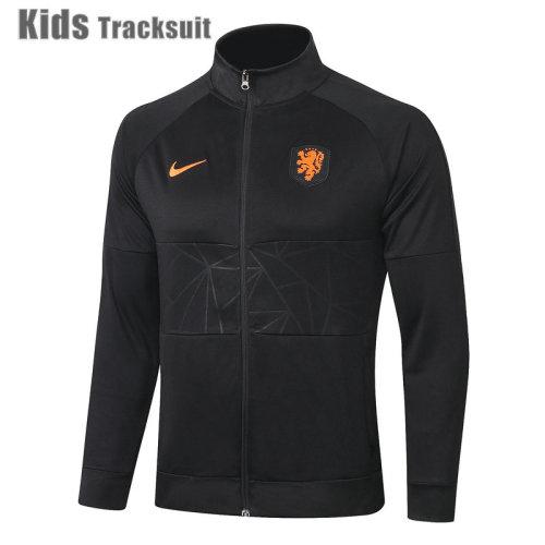 Kids Netherlands 2021 Jacket Tracksuit Black E439#