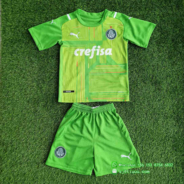(Discount) Kids Palmeiras 2021 Goalkeeper GK1 Jersey and Short Kit