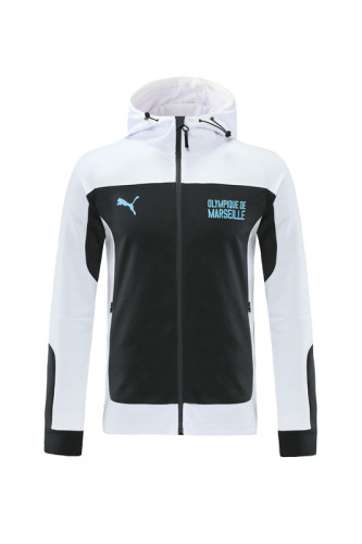 Olympique Marseille 21/22 Full-zip Training Hoodie Black and White MT03