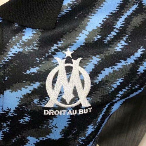 Olympique Marseille 21/22 Pre-Match Polo Shirt Black and Blue