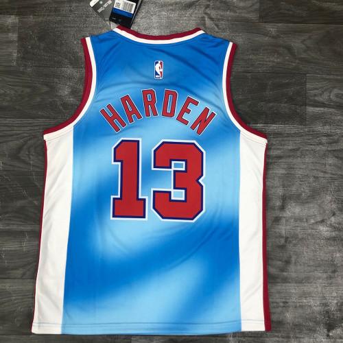 Thai Version James Harden Men's Blue Player Jersey - Retro Classic Edition