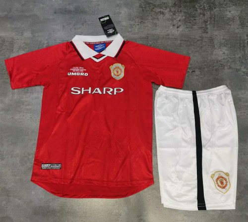 Kids Manchester United 1999/2000 Home Retro Jersey Kit