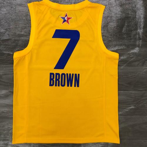 Thai Version Men's Jaylen Brown All-Star 2021 Yellow Swingman Player Jersey