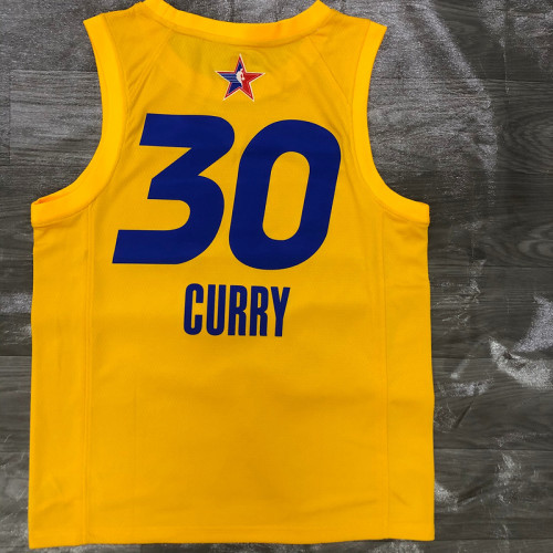 Thai Version Men's Stephen Curry All-Star 2021 Yellow Swingman Player Jersey