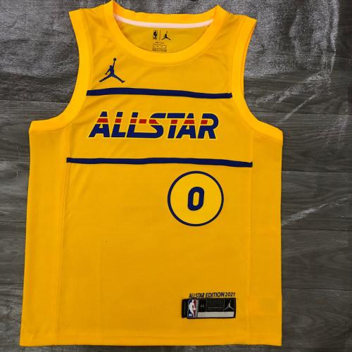 Thai Version Men's Damian Lillard All-Star 2021 Yellow Swingman Player Jersey